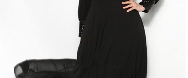Long Dress Hijab Bahan Sifon Warna Hitam