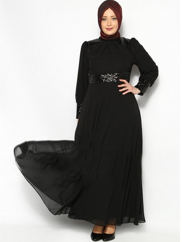 Long Dress Hijab Bahan Sifon Warna Hitam