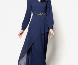 Long Dress Sifon Lengan Panjang Kerah V
