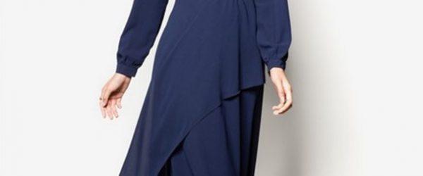 Long Dress Sifon Lengan Panjang Kerah V